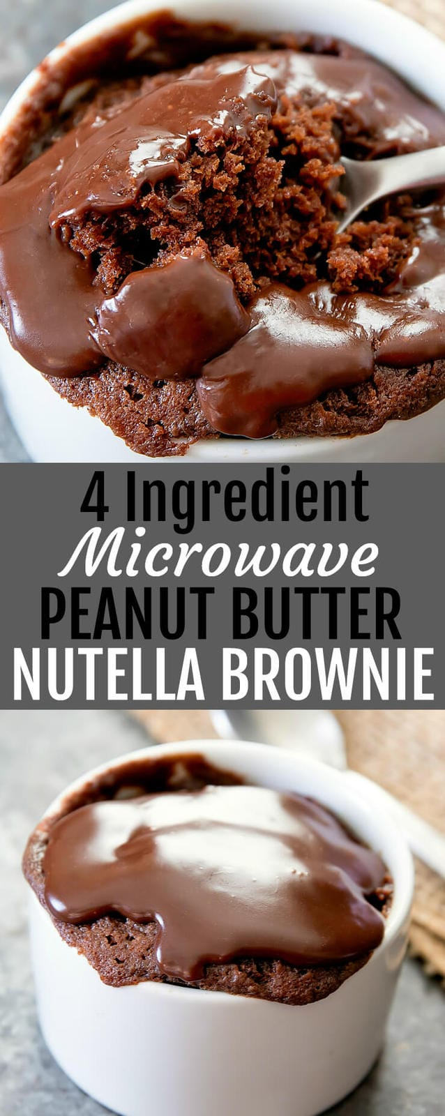 4 Ingredient Microwave Peanut Butter Nutella Brownie Mug Cake. A single serving peanut butter and Nutella flavored brownie that cooks in about 1 minute!
