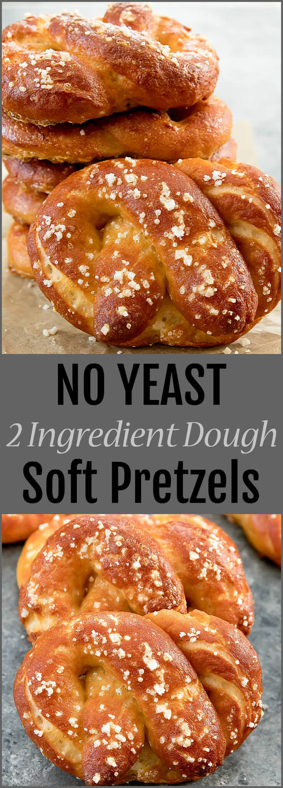 No Yeast (2 Ingredient Dough) Soft Pretzels. No kneading or proofing. This recipe uses a 2 ingredient dough for its base. Pretzels are ready in less than an hour!