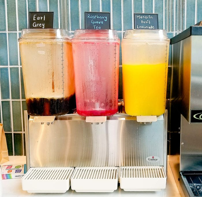photo of the drink station