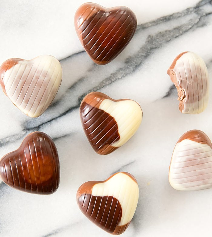 overhead photo of chocolate hearts