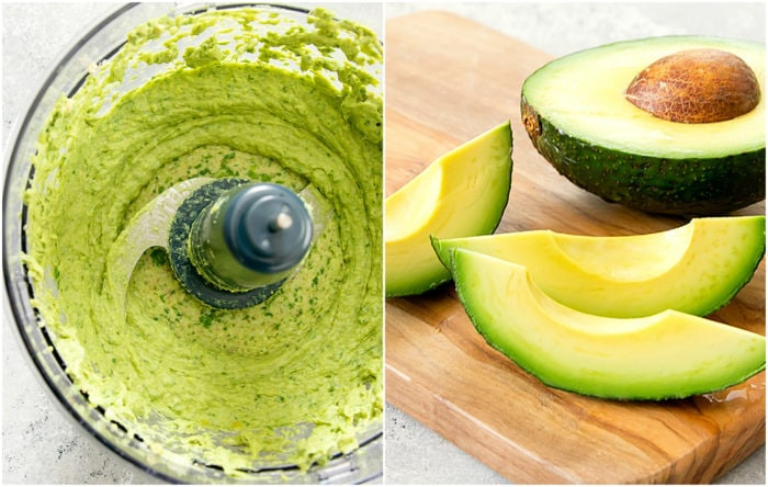 prep photo collage showing how to make the avocado sauce