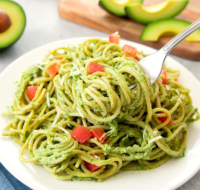 close-up photo of Avocado Pesto Pasta