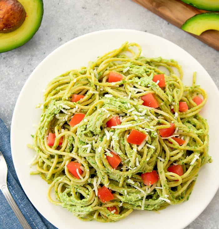 overhead photo of Avocado Pesto Pasta