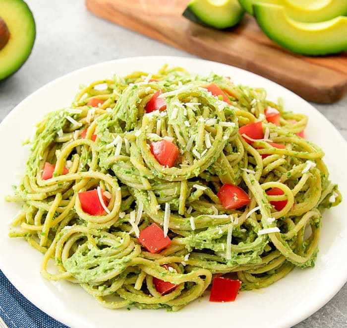 photo of Avocado Pesto Pasta on a white plate