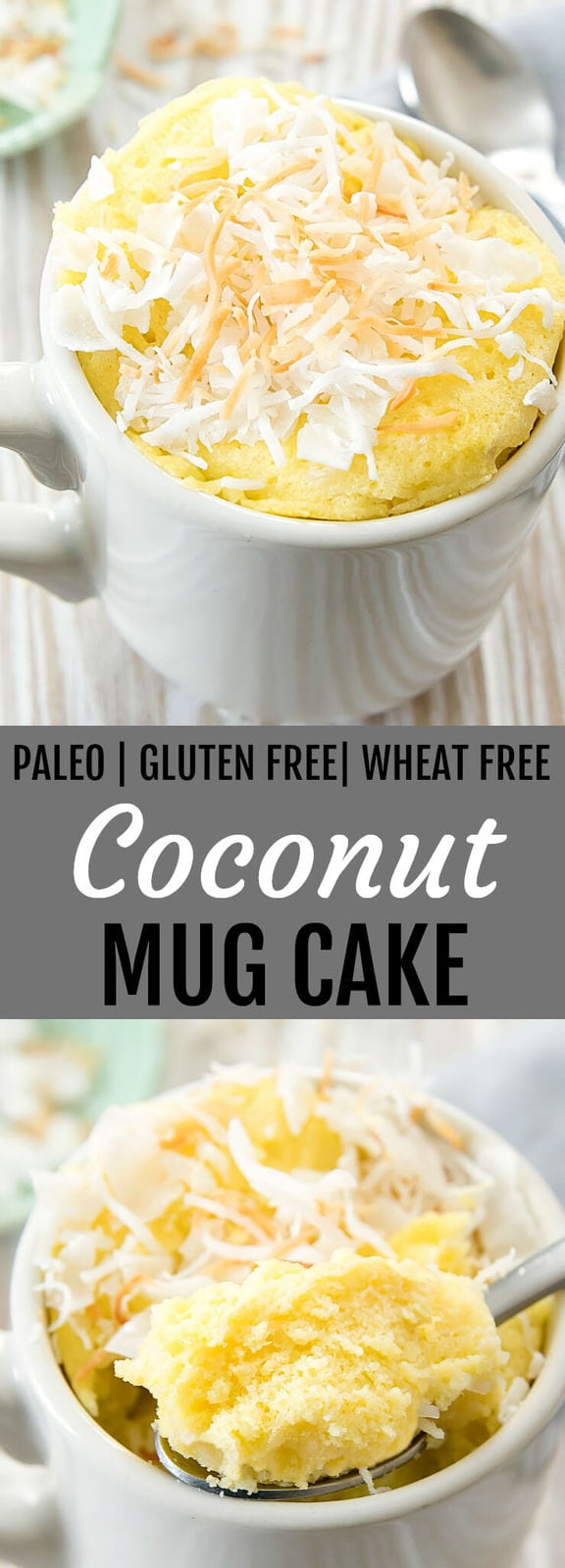 Coconut Mug Cake. This fluffy mug cake is paleo, gluten free and wheat free. It cooks in the microwave in less than 2 minutes!