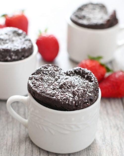 photo of a flourless chocolate mug cake