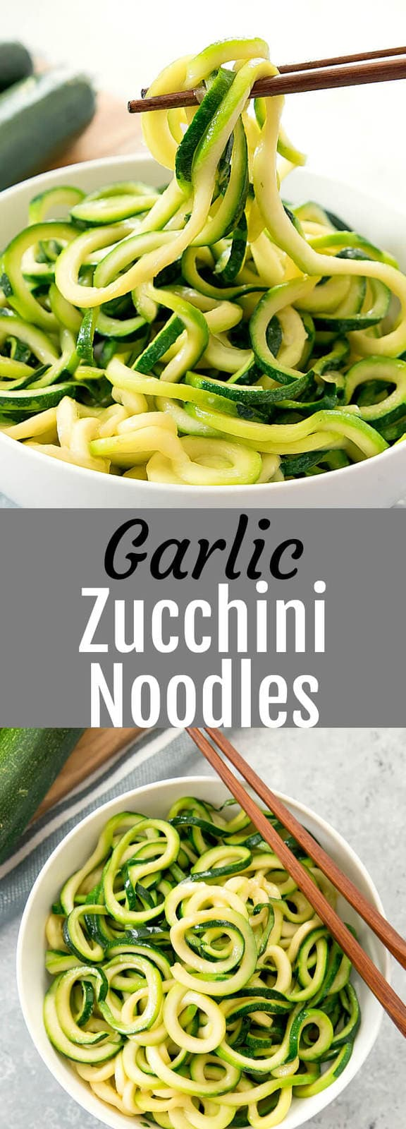 Garlic Zucchini Noodles. A lightened up version of Asian-style garlic butter noodles. So flavorful and easy. Ready in less than 30 minutes.