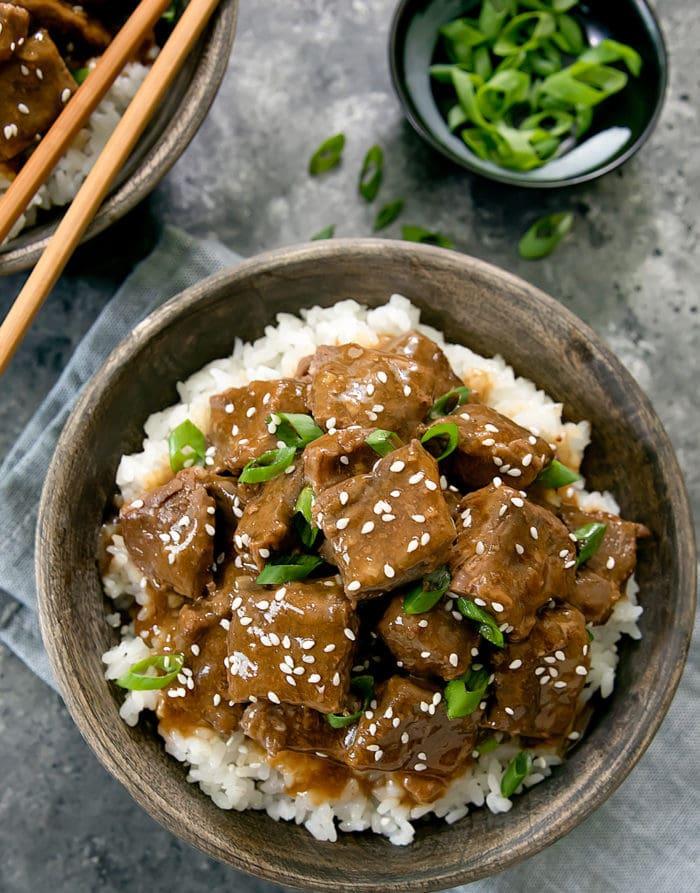 overhead photo of Instant Pot Korean Beef