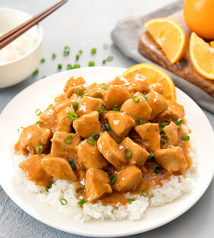 photo of a plate of Orange Chicken with white rice