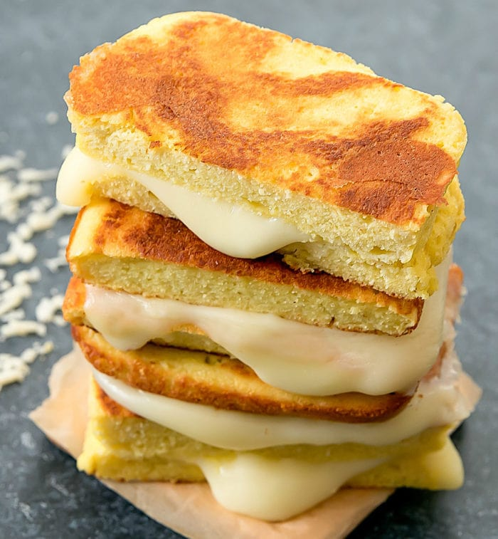 a stack of Low Carb Bread Grilled Cheese