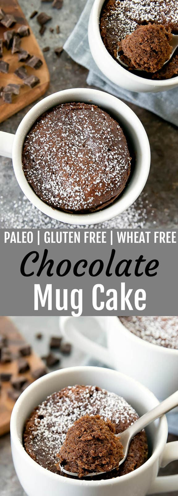 Paleo Gluten Free Chocolate Mug Cake. This cake is rich and decadent and cooks in the microwave in less than 2 minutes!