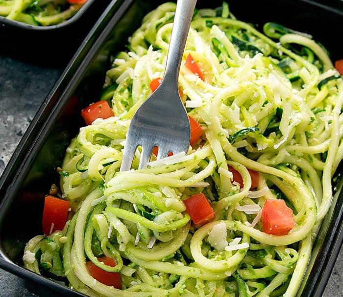 close-up photo of Pesto Zucchini Noodles