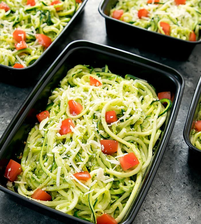 photo of one meal prep container with Pesto Zucchini Noodles
