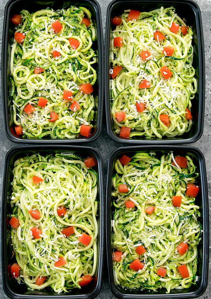 overhead photo of Pesto Zucchini Noodles