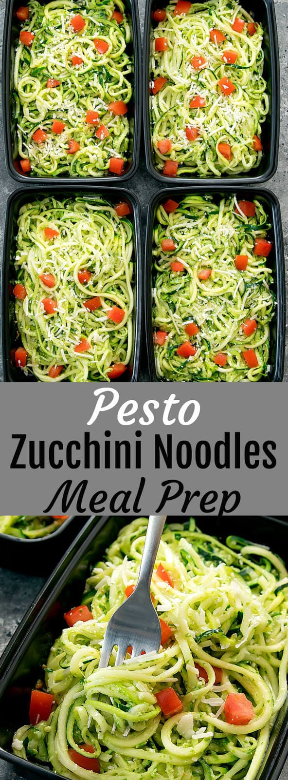 Pesto Zucchini Noodles Meal Prep. An easy and flavorful meal that can be made ahead of time for your weekly meal prep.