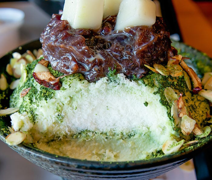 inside look at green tea bingsoo from Sul & Beans San Diego