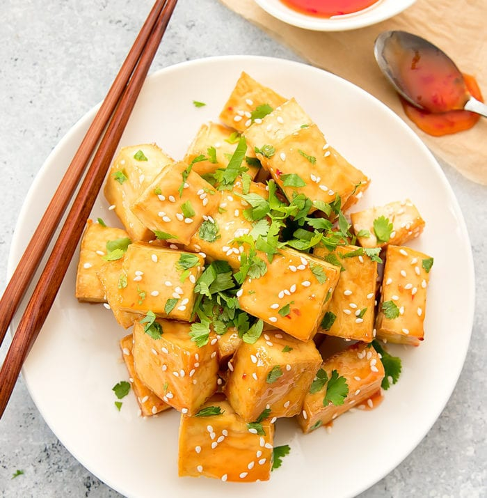 overhead photo of Sweet Chili Tofu