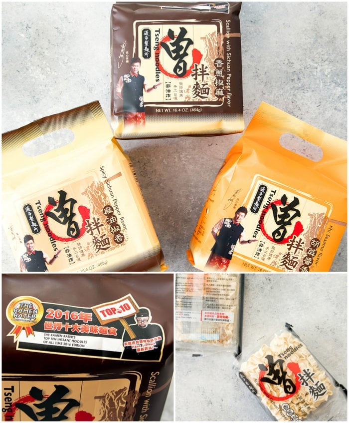 photo collage of packages of Tseng Noodles