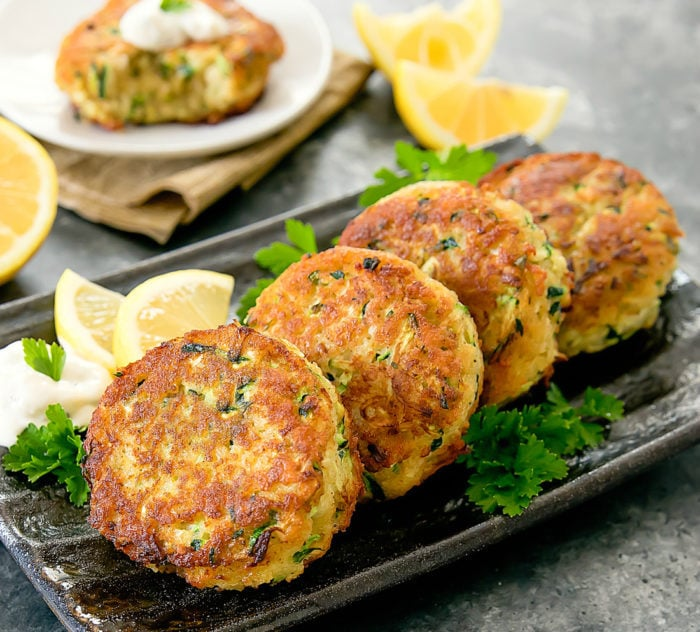 "Zucchini ""Crab"" Cakes on a serving platter"