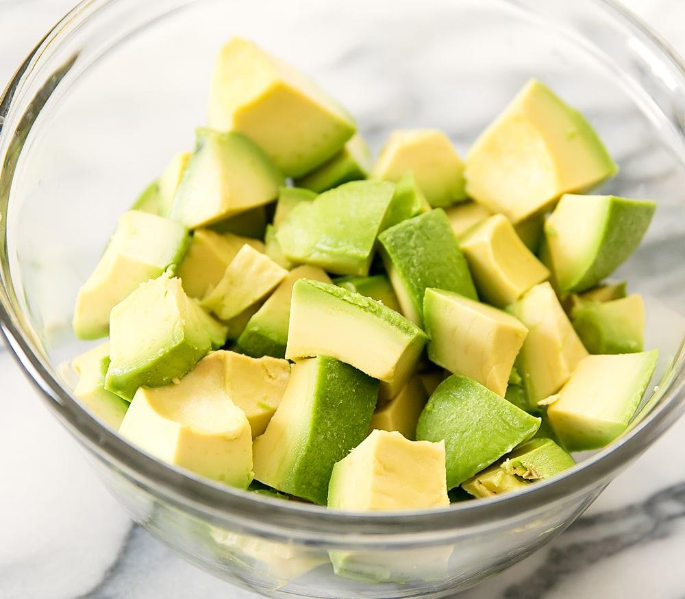 close-up photo of diced avocado