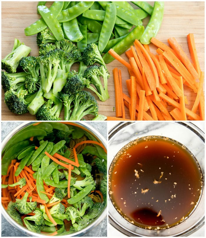 preparation photos for making instant pot lo mein