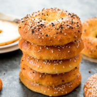 photo of stacked low carb keto bagels