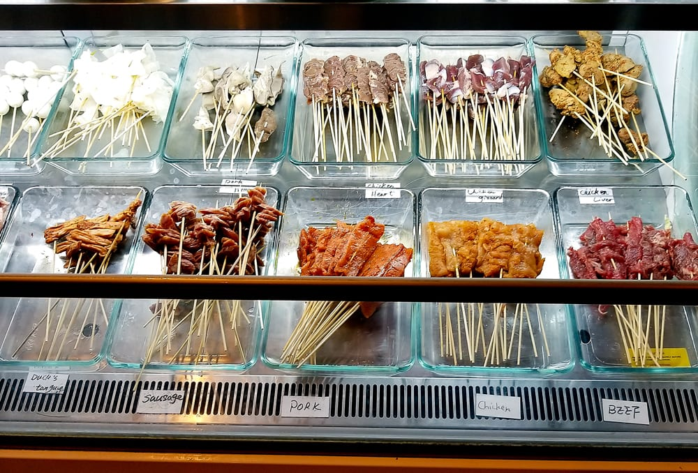 photo of the display case with all the skewer options