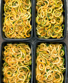 overhead photo of sesame zucchini noodles