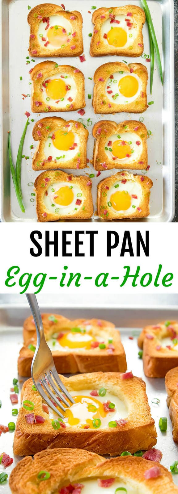 Sheet Pan Egg in a Hole Toast. An easy way to feed a large group or family, perfect for breakfast or bunch. Ready in less than 30 minutes.