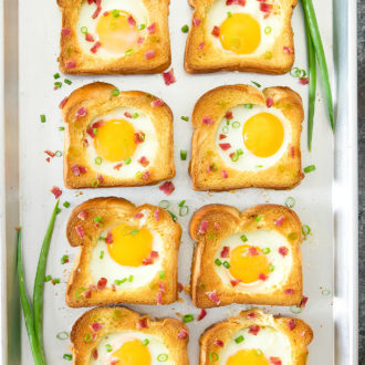 overhead sheet pan picture of egg in a hole