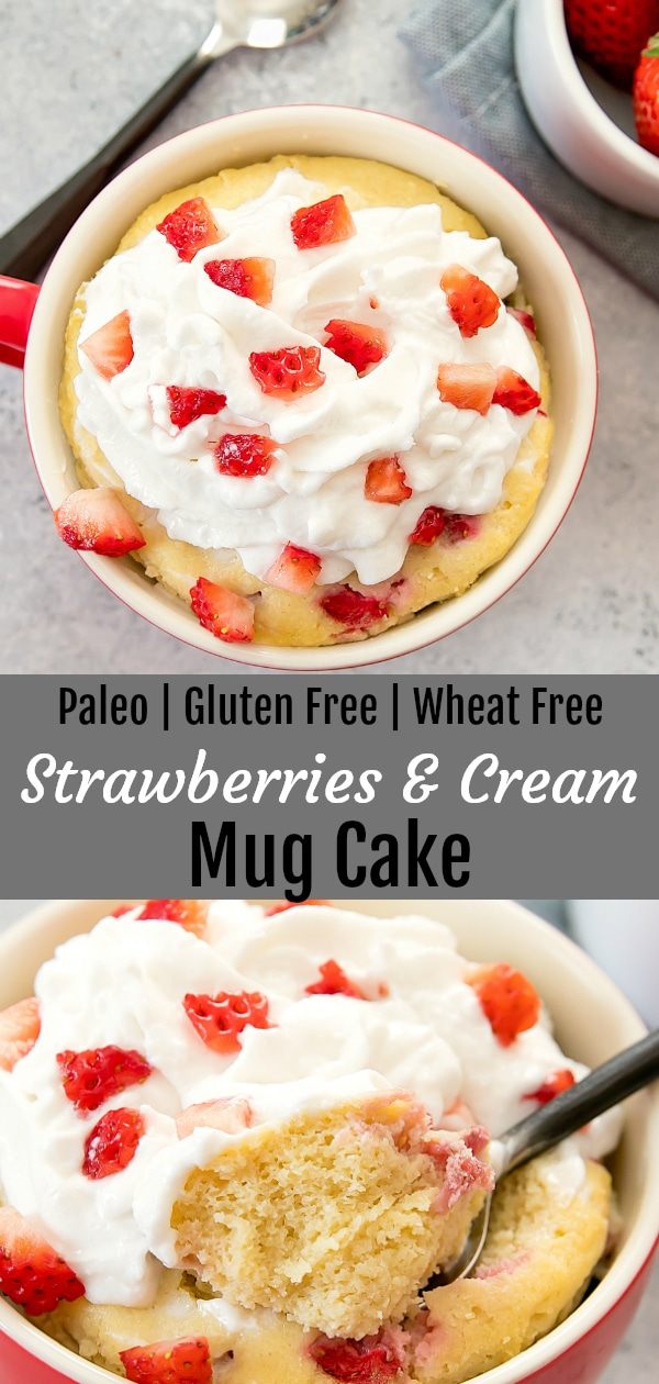 Strawberries and Cream Mug Cake. This cake is also gluten free, wheat flour free and paleo. Cooks in the microwave in about 2 minutes!