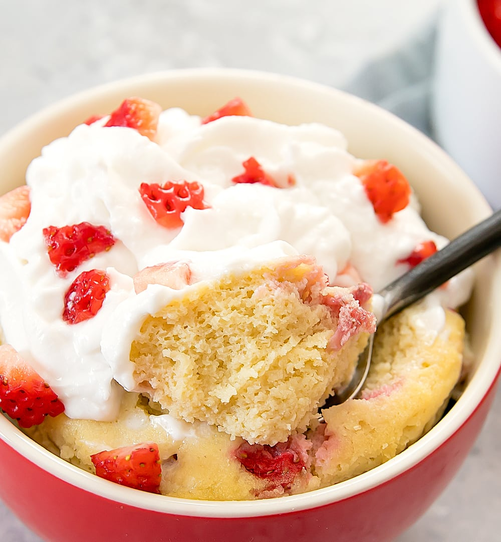 close-up photo of Strawberries and Cream Mug Cake