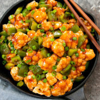 overhead picture of sweet and sour cauliflower