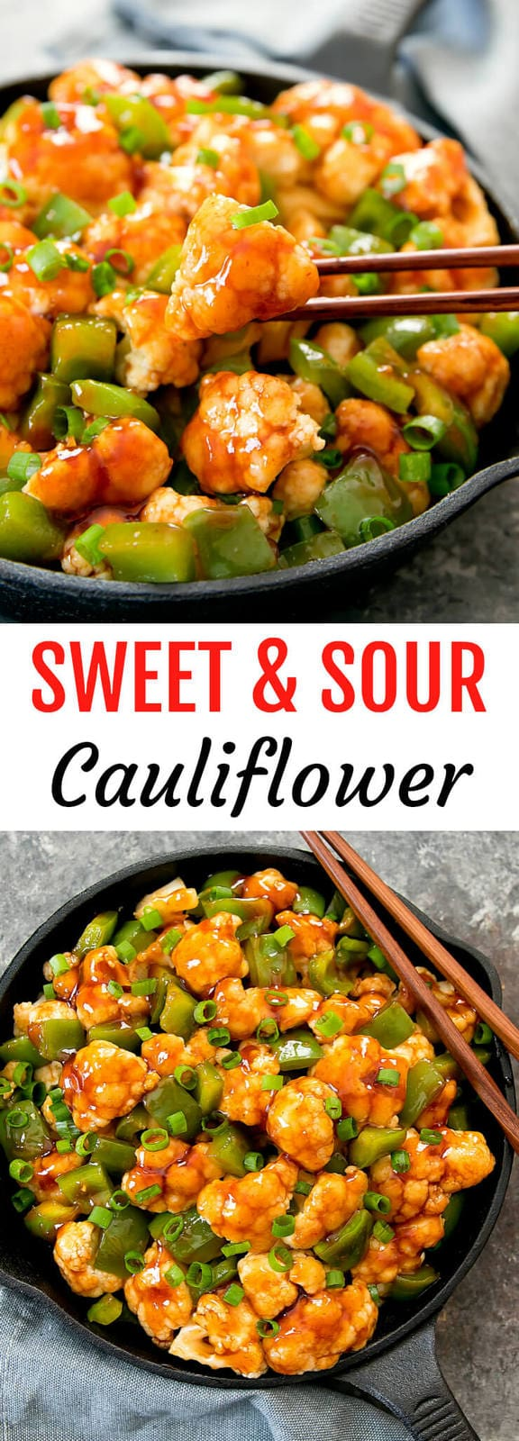 Sweet and Sour Cauliflower. A healthier version of the popular Chinese take-out. It's ready in less than 30 minutes!