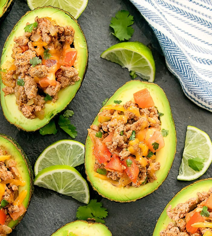 Close-up of top down shot of Taco stuffed Avocados
