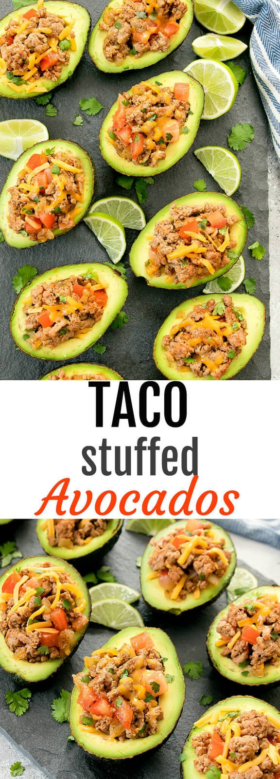 Taco Stuffed Avocados. A healthier take on tacos, stuffing avocados with homemade ground turkey taco filling.