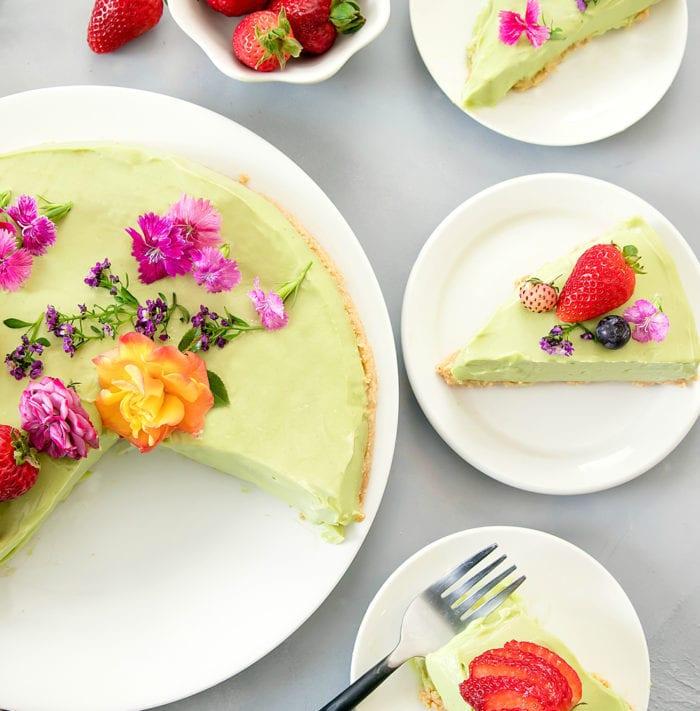 overhead photo of Avocado Cheesecake