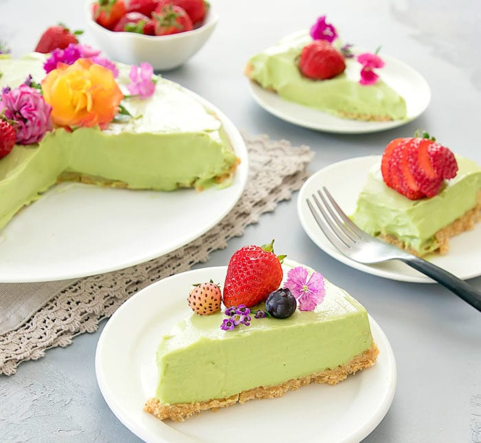 photo of a slice of Avocado Cheesecake