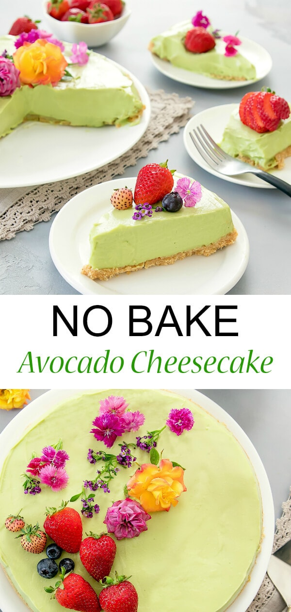 A lighter version of cheesecake using creamy avocados instead of eggs. This no-bake dessert is best served chilled, making it perfect for summer.