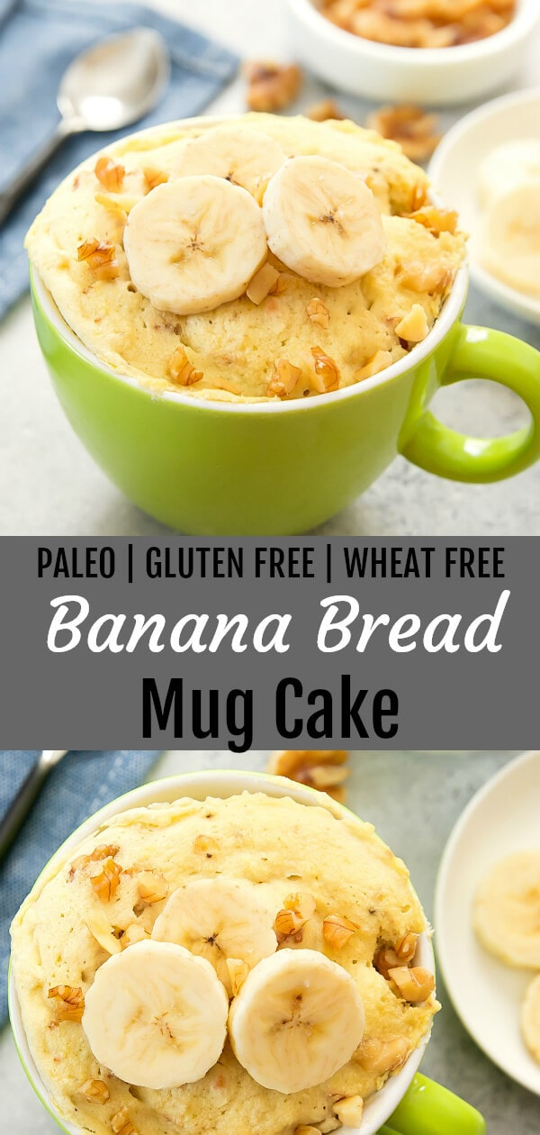 Paleo Banana Bread Mug Cake. This single serving fluffy cake is paleo, gluten free and cooks in 2 minutes.
