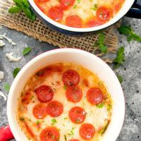 overhead photo of cauliflower pizza mug cake