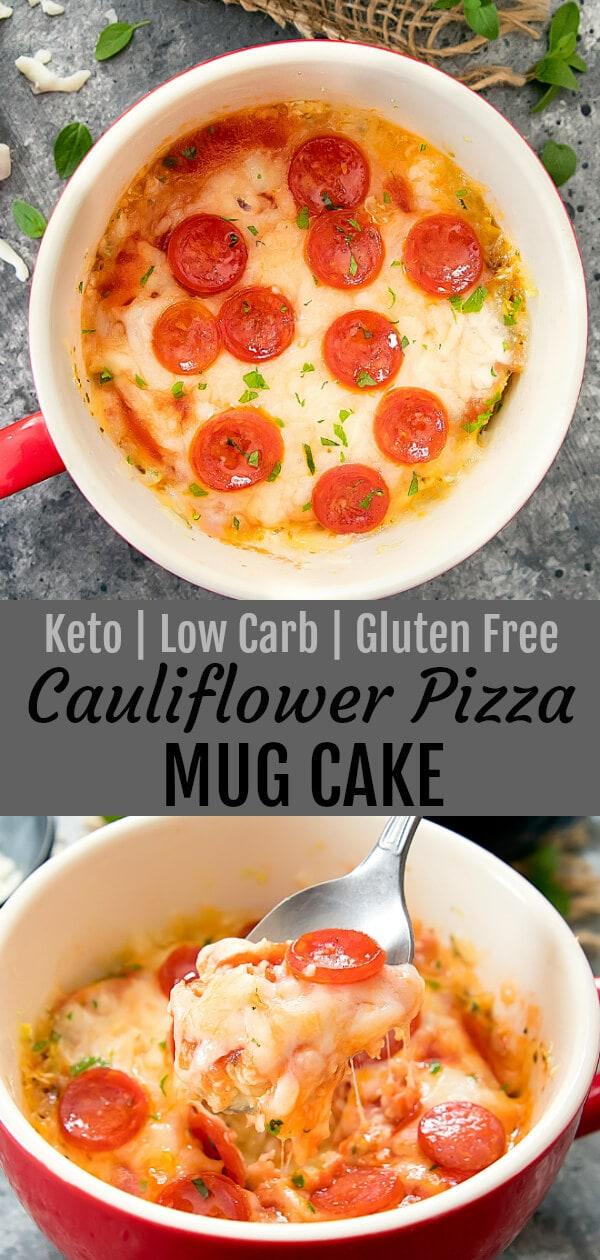 Cauliflower Pizza Mug Cake. This single serving savory pizza mug cake is also gluten free, wheat free, low carb and keto.