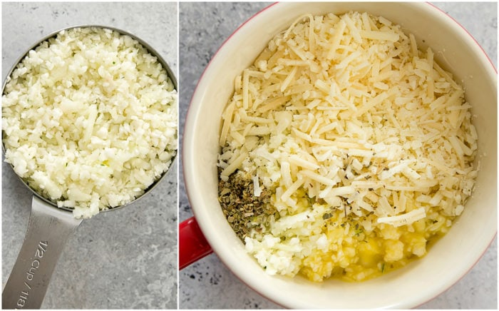photo collage showing how to chop the cauliflower and combine the ingredients in a mug