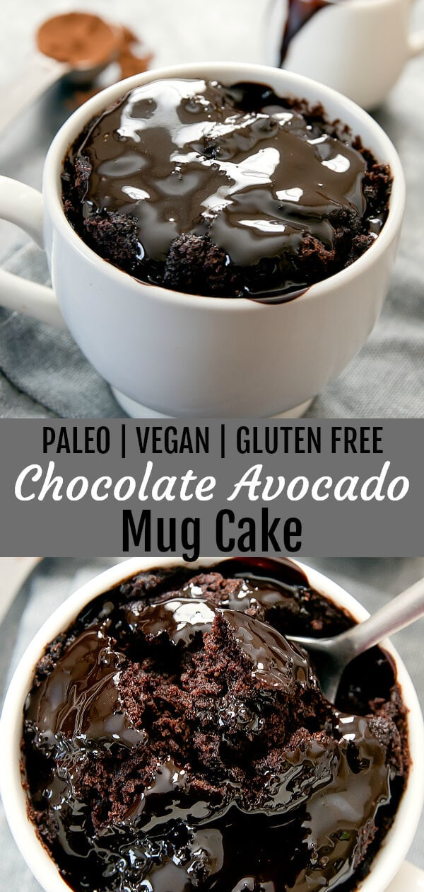 Flourless Chocolate Avocado Mug Cake (Paleo, Gluten Free, Vegan). This flourless chocolate cake is rich and fudgy and cooks in 2 minutes!
