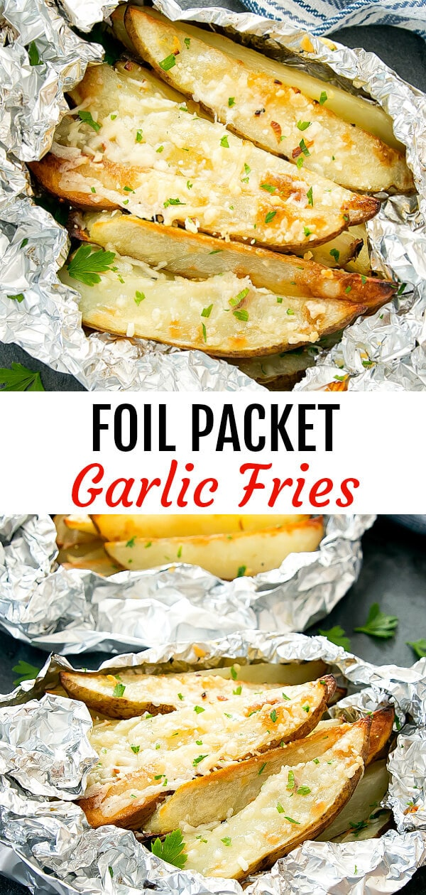 Foil Packet Crispy Garlic Parmesan Fries. These easy fries are cooked in foil packets for minimal clean-up.