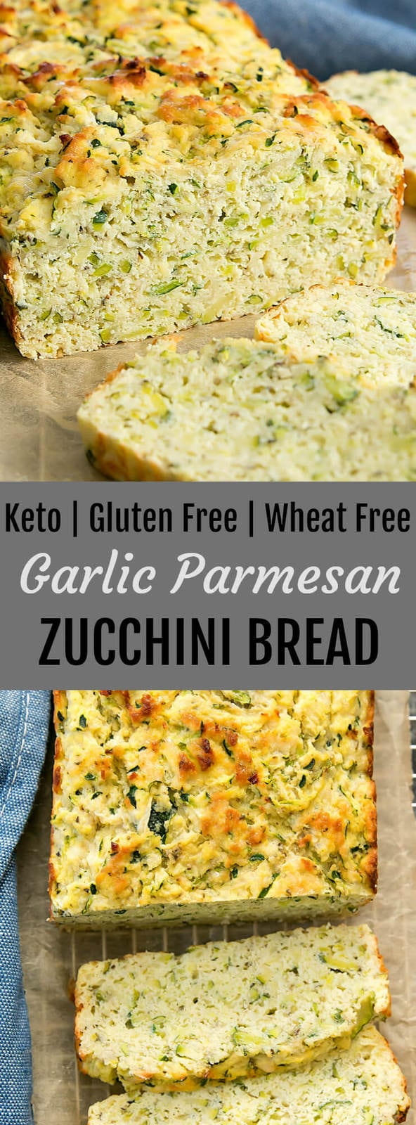 Garlic Parmesan Zucchini Bread. This savory bread is keto friendly, gluten free and wheat flour free. Works great for sandwiches, grilled cheese and more
