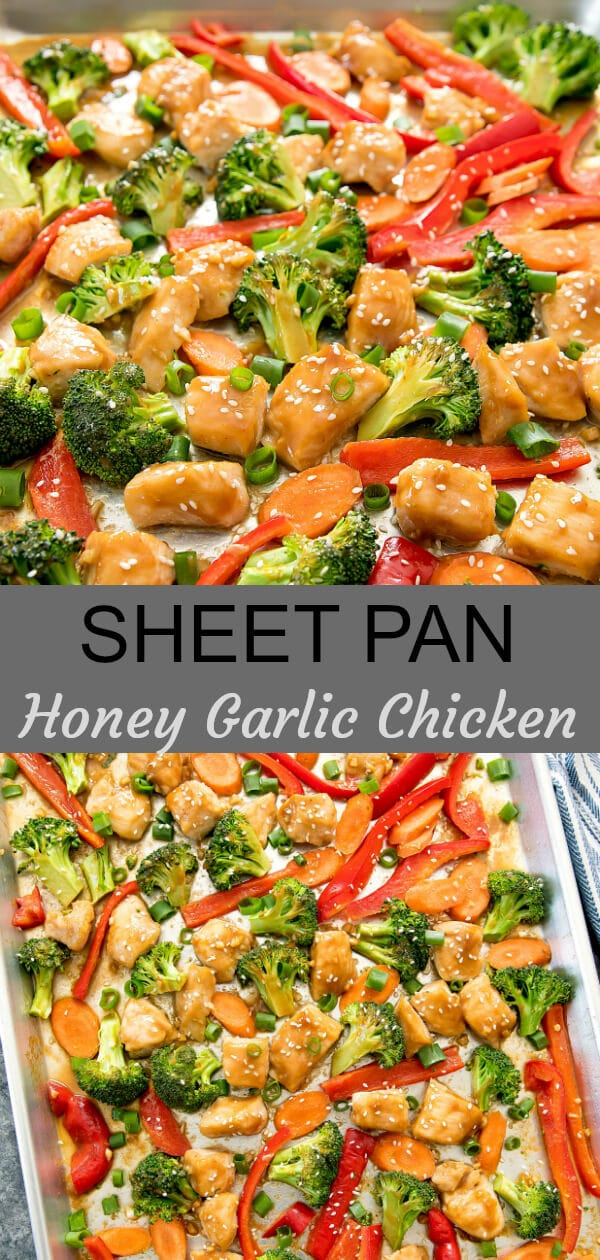 Sheet Pan Honey Garlic Chicken. Chicken is cooked in a flavorful honey garlic sauce. Everything cooks on one sheet pan for easy clean-up.