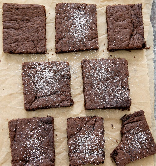 overhead photo of slices of Fudgy Paleo Brownies