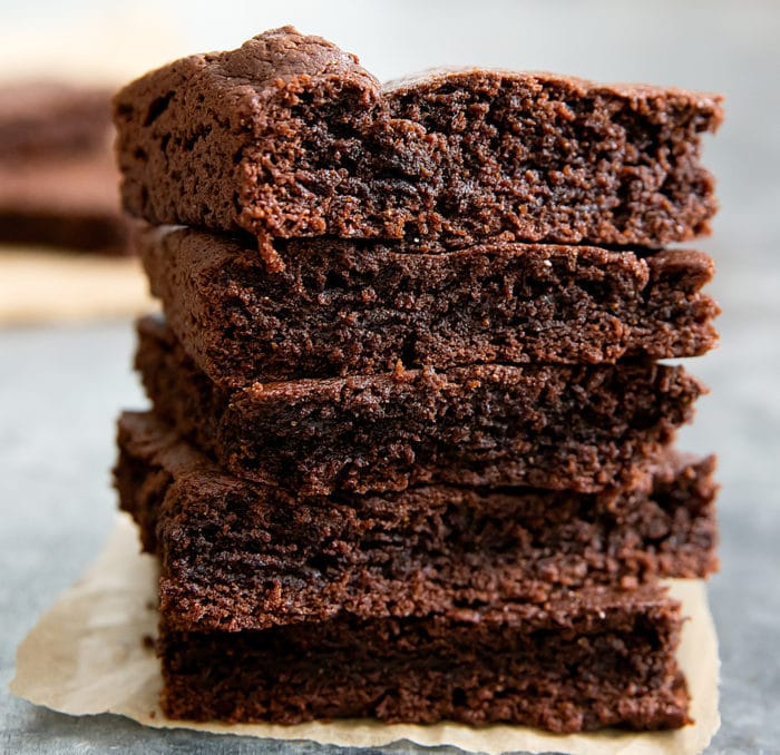 photo of a stack of Fudgy Paleo Brownies