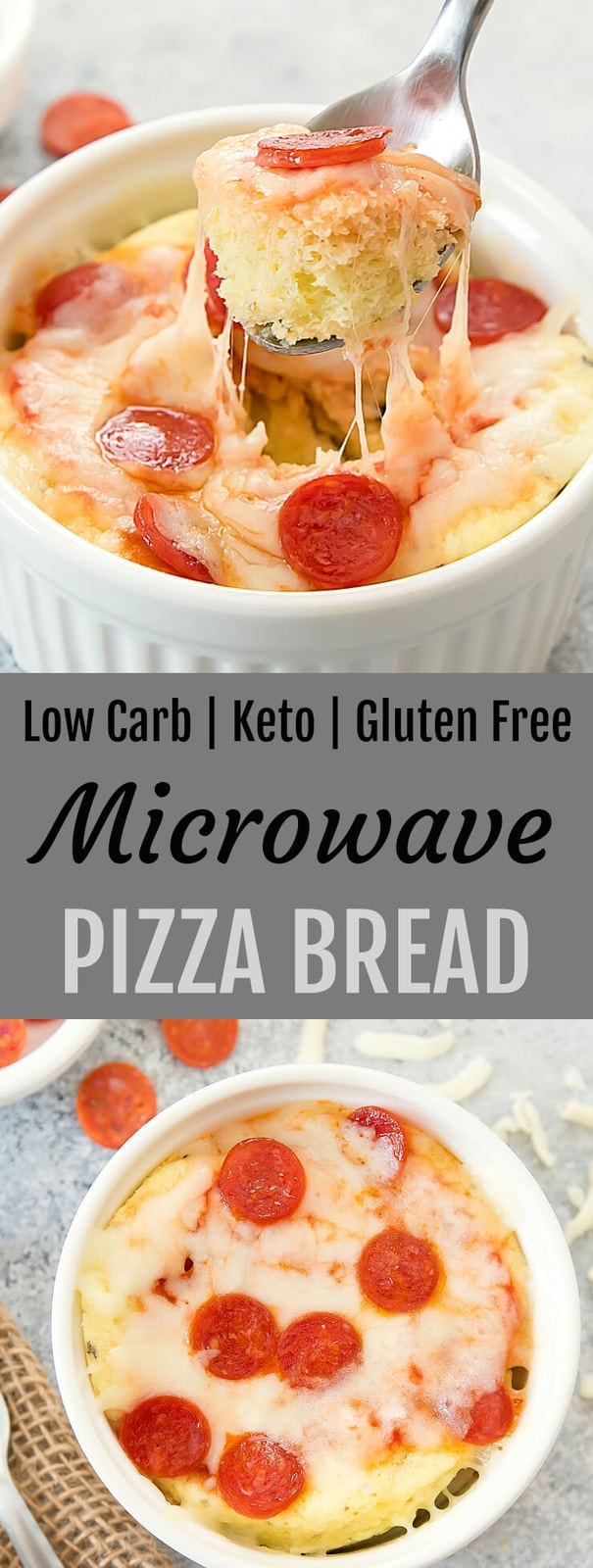 Low Carb Keto Microwave Pizza Bread. This single serving cheesy pizza bread is gluten free, wheat flour free, low carb and keto. It cooks in 2 minutes in the microwave!